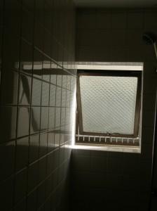 タイルのうつる窓